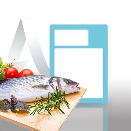 Etiquetas pegatinas sector pescaderia de 59x80 mm